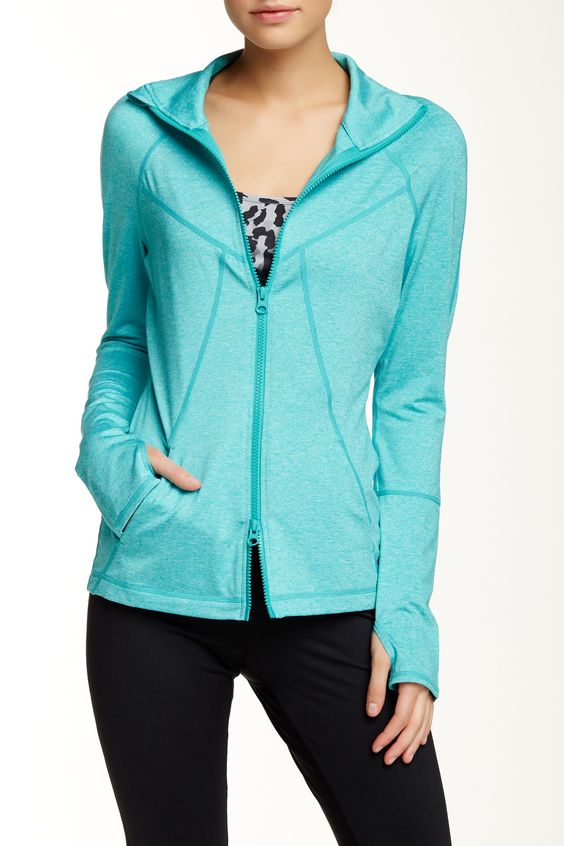 Z By Zella Teal Heart Center Jacket