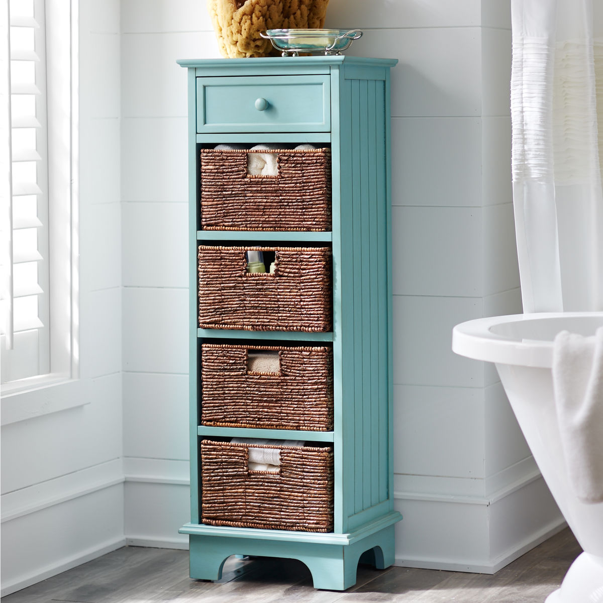 Antique Sky Blue Holtom Tall Cabinet