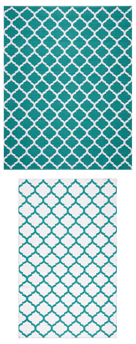 Becca Teal Tile Reversible Indoor-Outdoor Rug