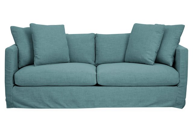 Blue crypton dolly slipcover sofa everything turquoise Blue loveseat slipcover