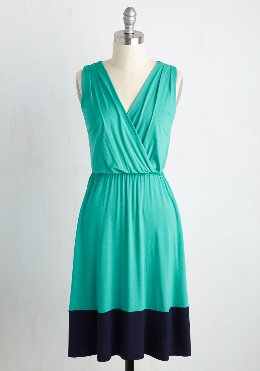 Comely as No Surprise Dress in Turquoise