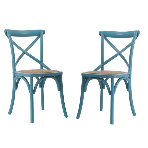 Light Blue Elm Wood Rattan Vintage Style Dining Chairs (Set Of 2)