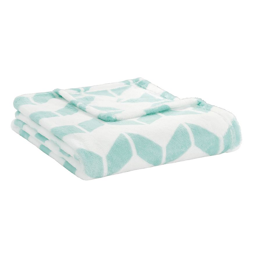 Aqua Chevron Plush Throw