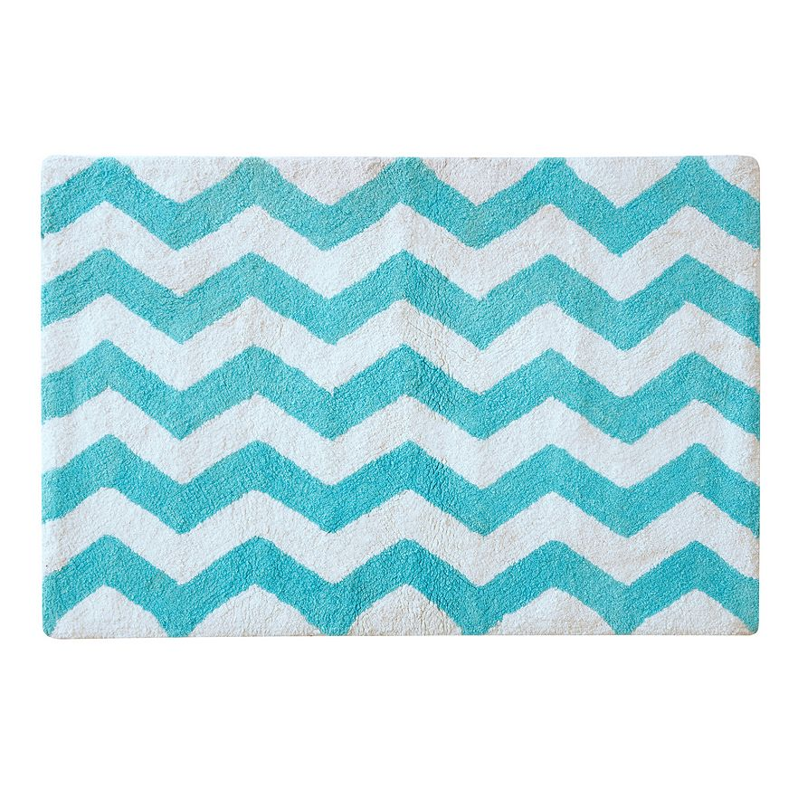Aqua Chevron Tufted Rug