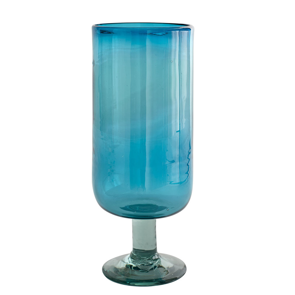 Aqua Mexican Glass Hurricane