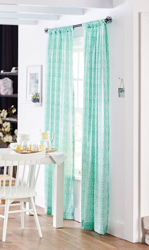 Aquarius Blue Sheer Curtain Panel