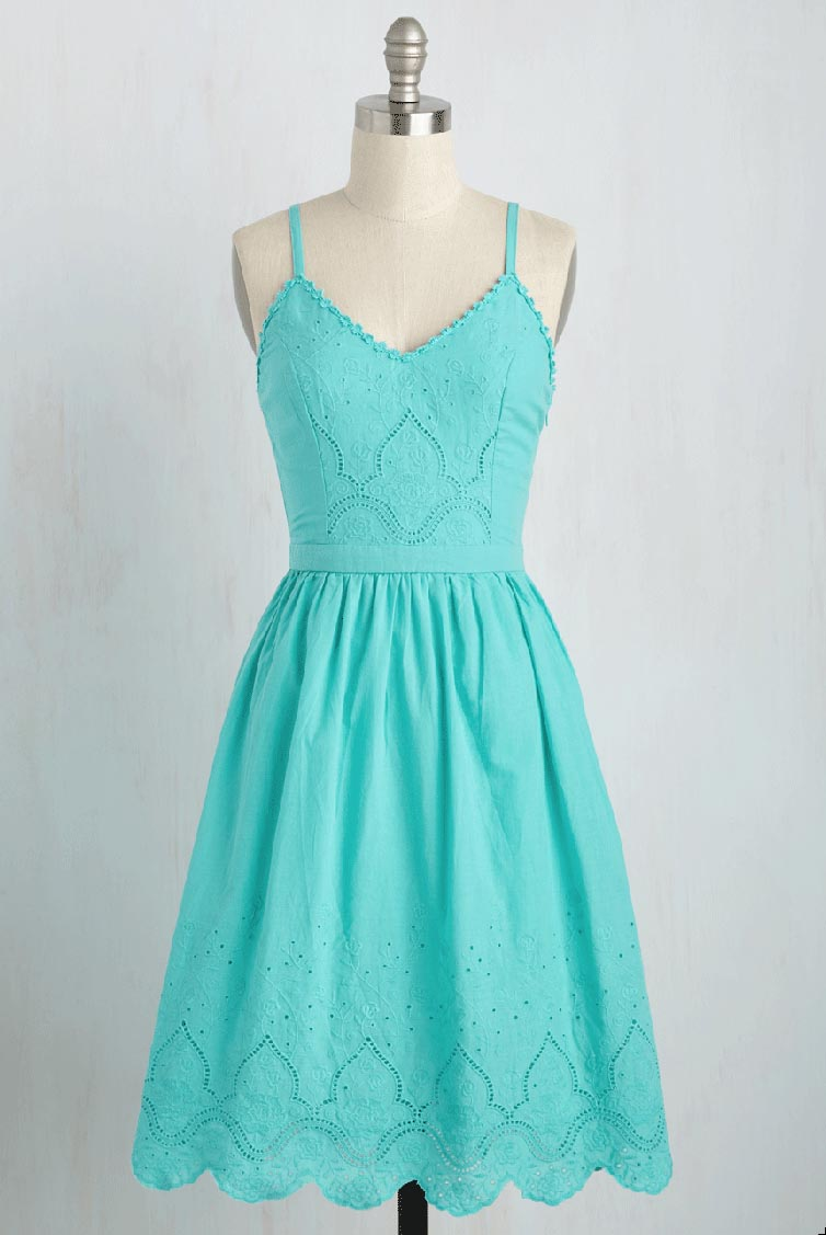 Courteous Curtsy Dress in Aqua