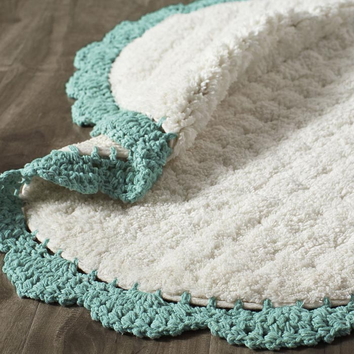 Crochet Edge Teal Bath Rug