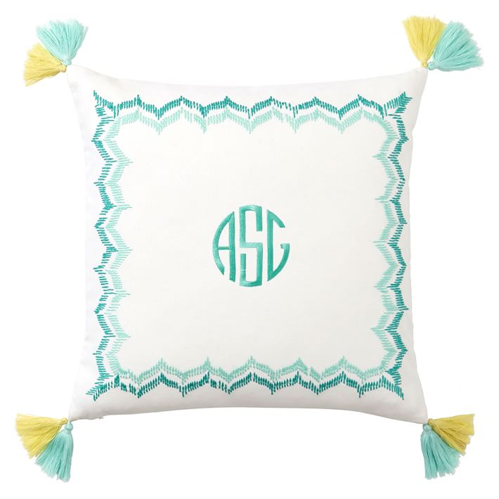 Embroidered Border Monogram Pillow Cover