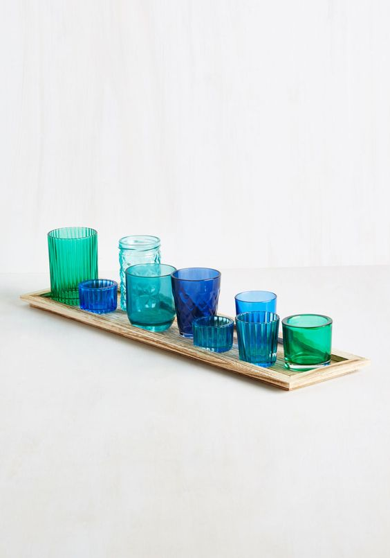 Ethereal Ambiance Votive Candle Holder Set in Azure