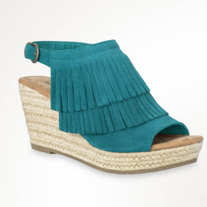 Minnetonka Moccasin Turquoise Ashley Wedges