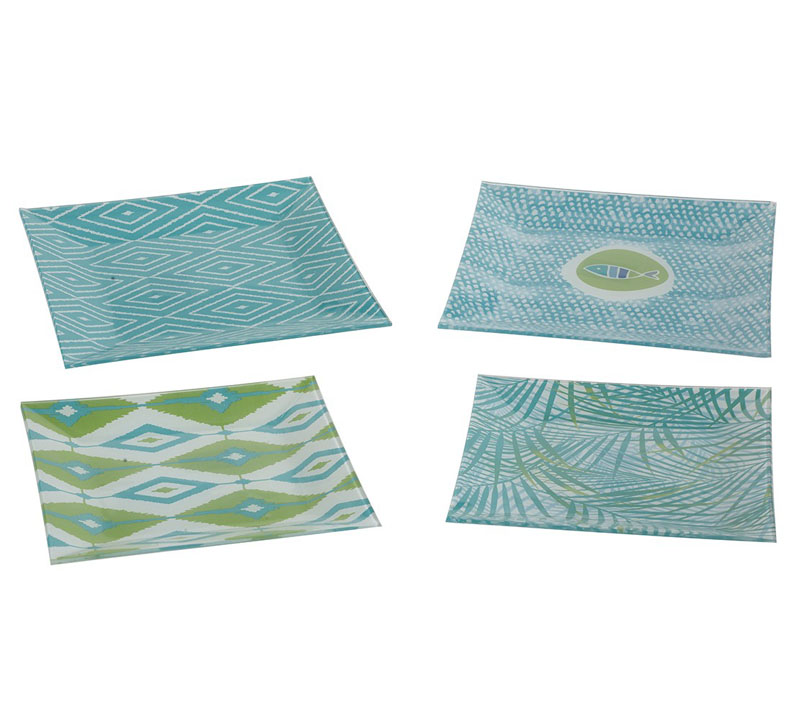 Moody Blues Square Glass Plate Set