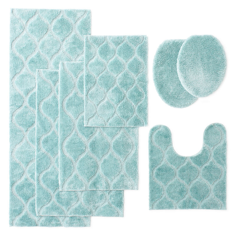 Brilliant Piece Teal Pedestal Bath Mat Rugs Bathroom Toilet Accessories Set