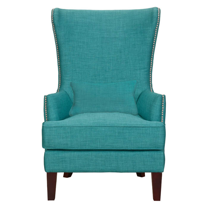 Teal Kori Chair with Chrome Nailhead Trim