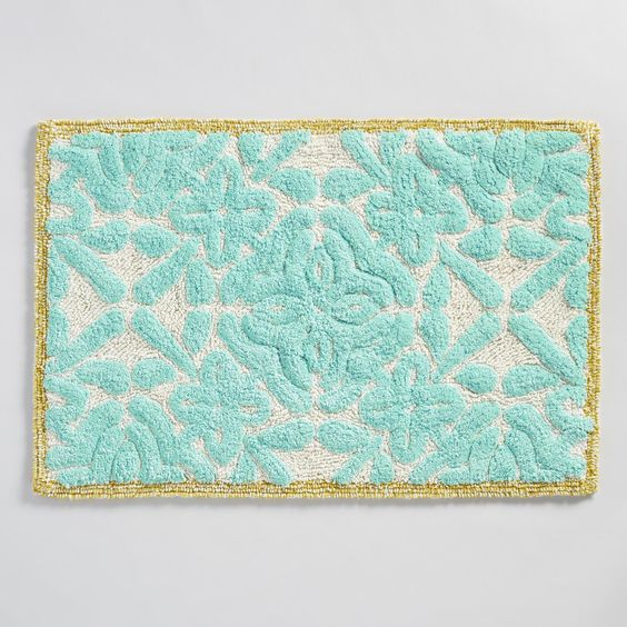 Aqua Floral Tile Tufted Bath Mat