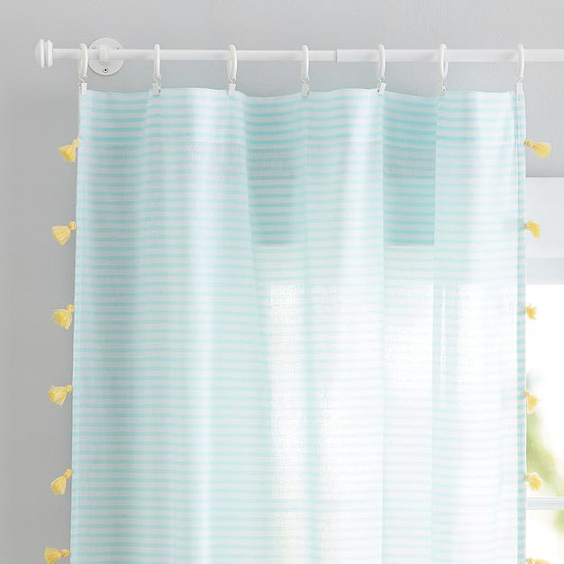 Aqua Stripe Tassel Sheer Panel