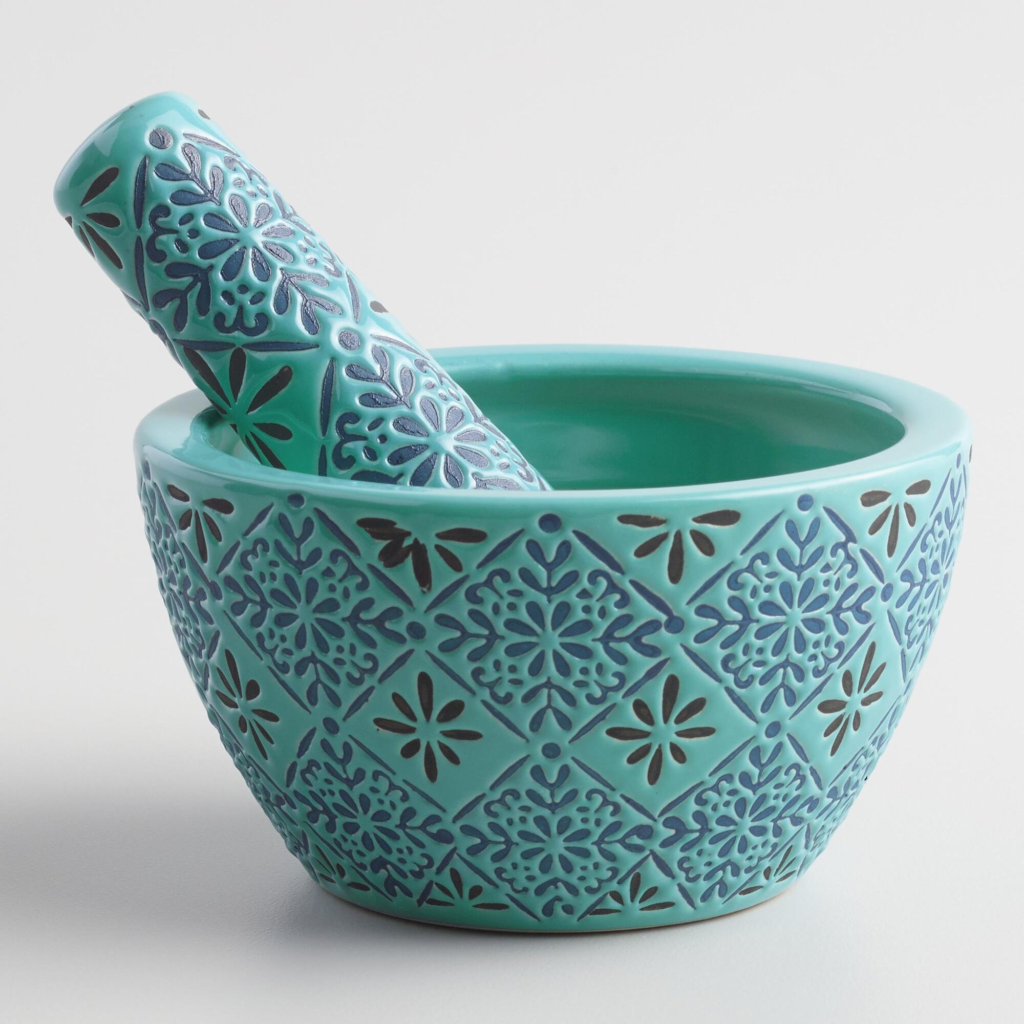Blue Tile Ceramic Mortar And Pestle Everything Turquoise