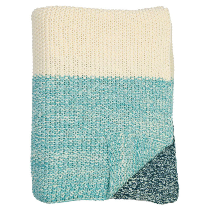 Darzzi Marl Moss Beach Blue Stripe Throw
