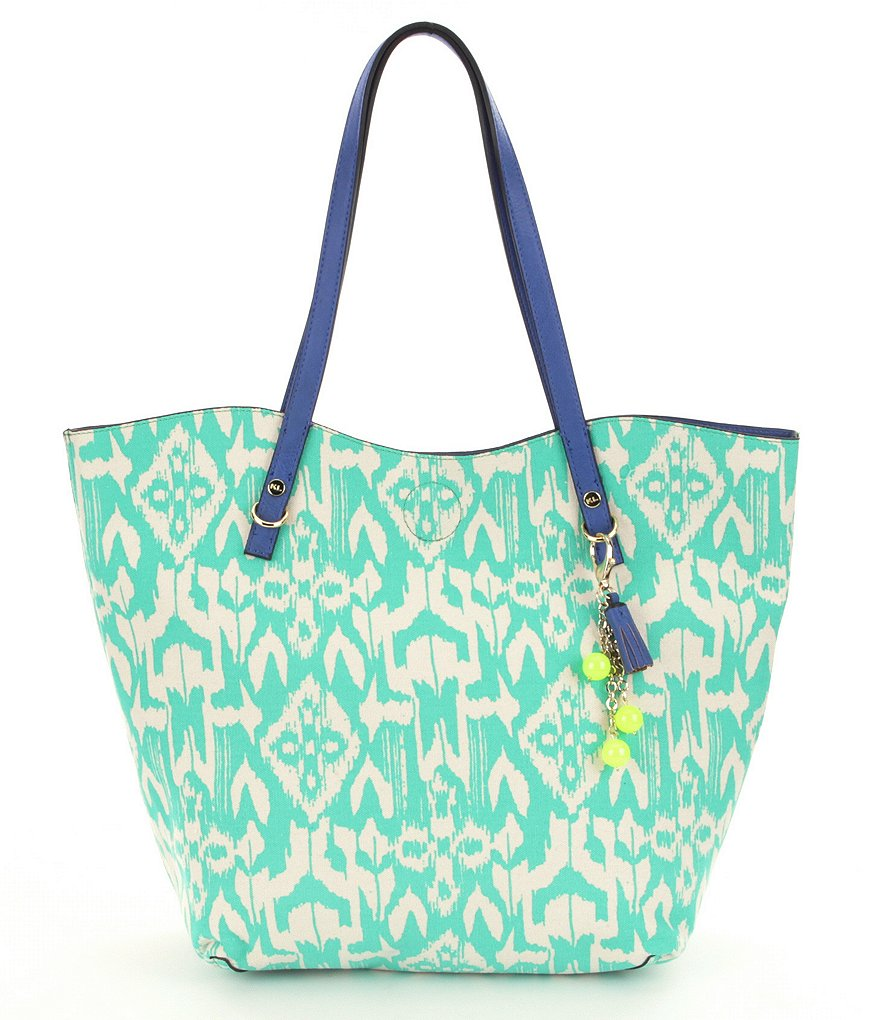 Kate Landry Turquoise Ikat Canvas Tote