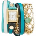 La Mer Collections Leather & Chain Wrap Bracelet Watch