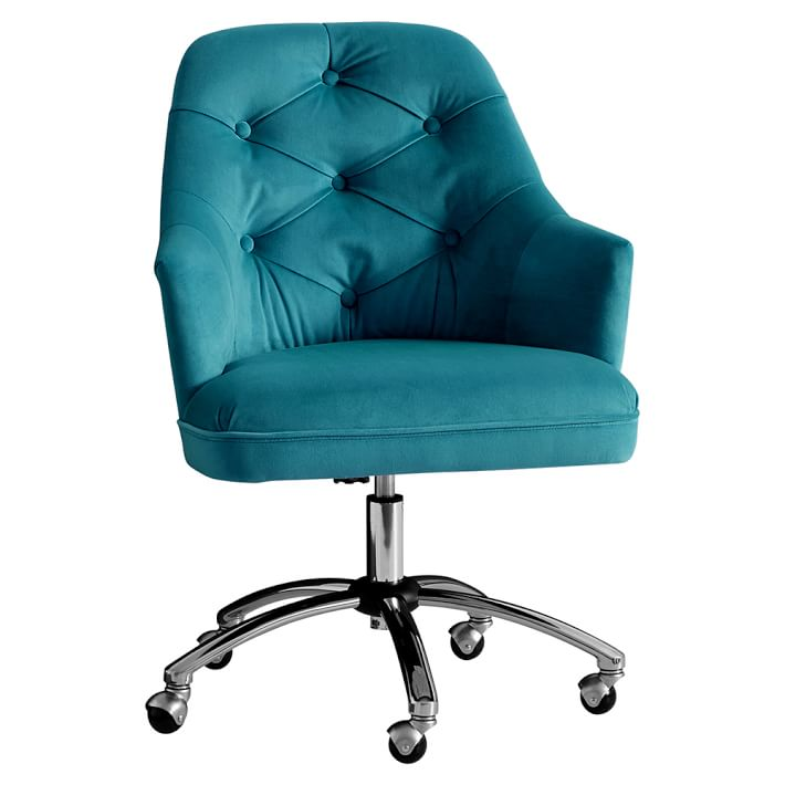 Peacock Velvet Tufted Desk Chair | Everything Turquoise