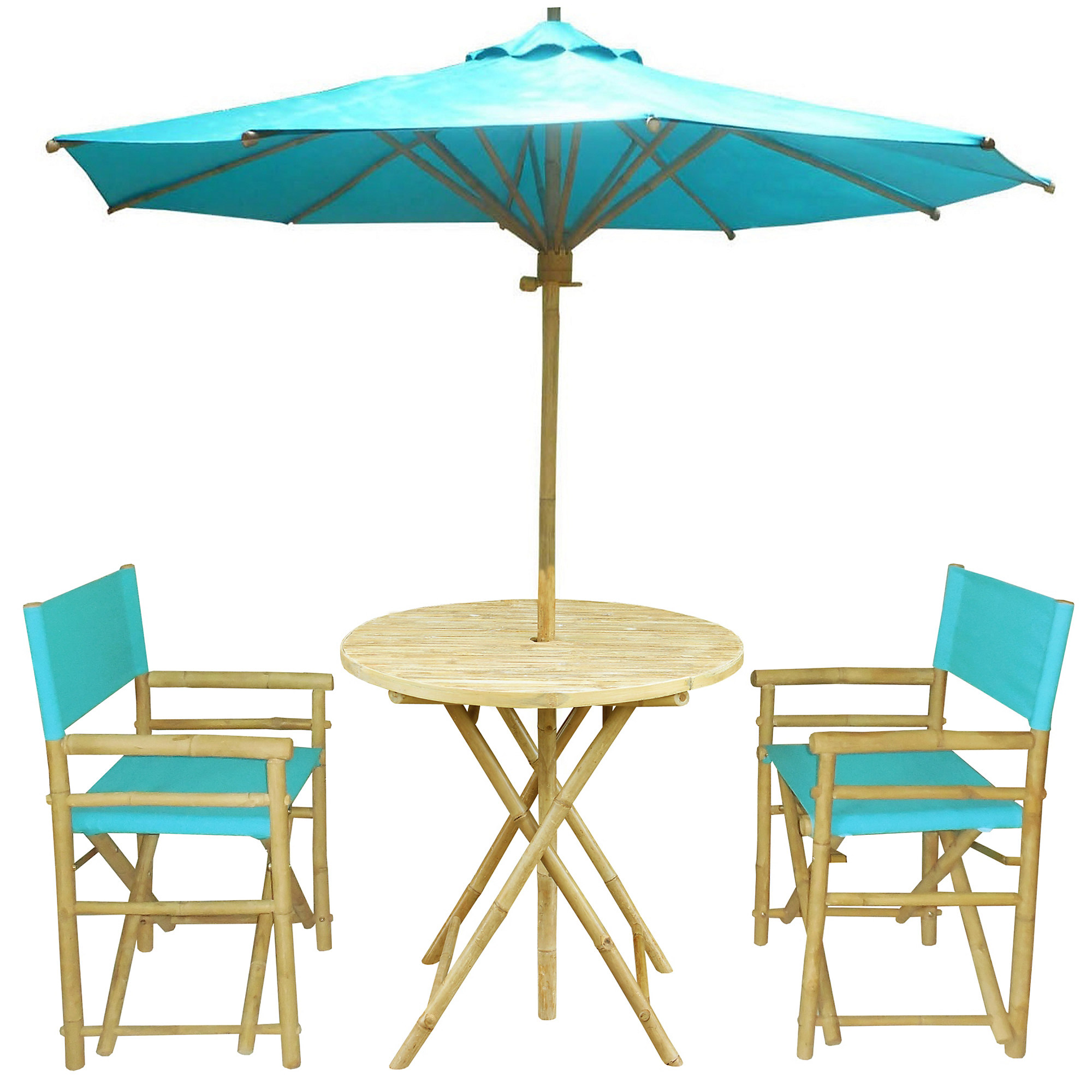 Round Outdoor Dining Set in Aqua