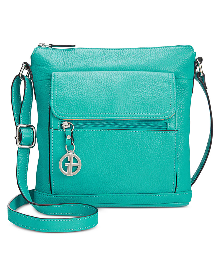 Turquoise Giani Bernini Pebble Leather Crossbody