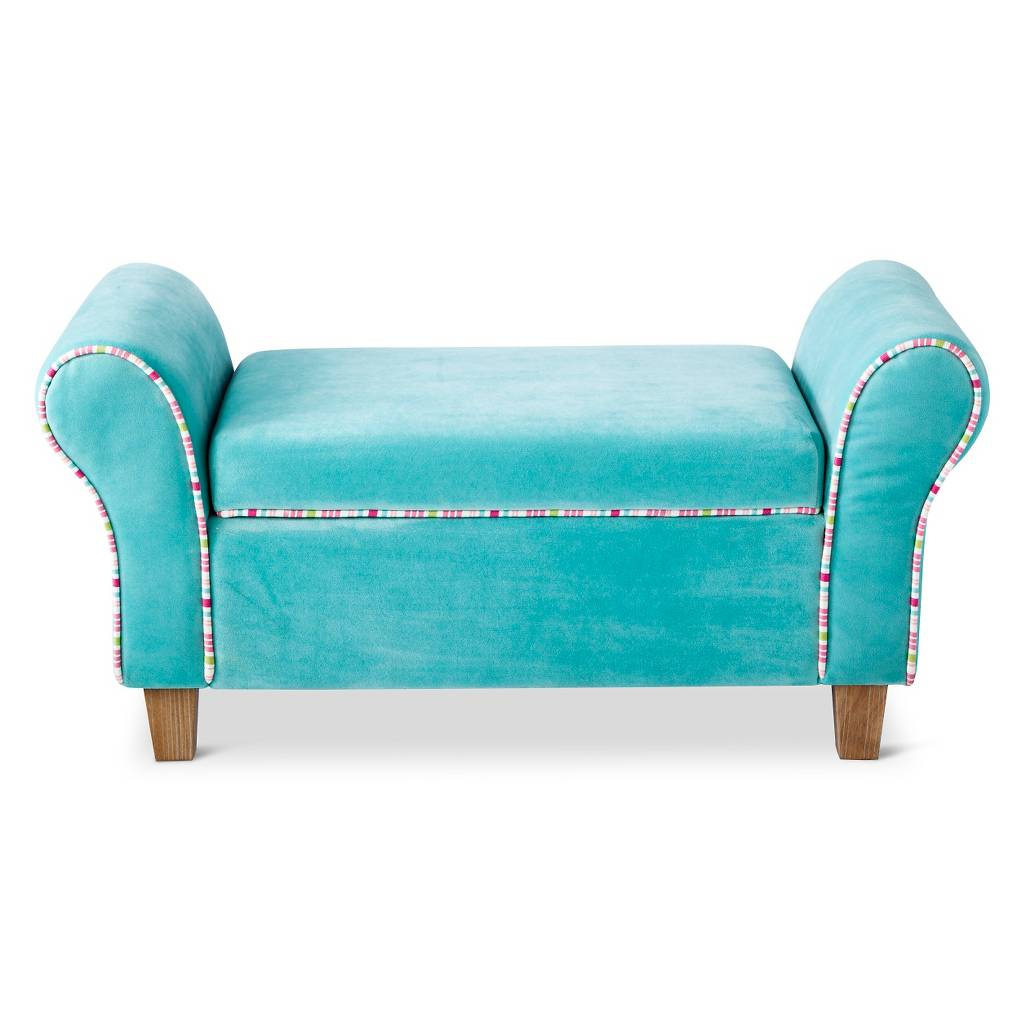 Turquoise Kids Upholstered Storage Bench