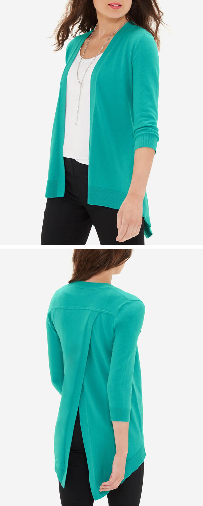 Turquoise Split Back Open Front Cardigan