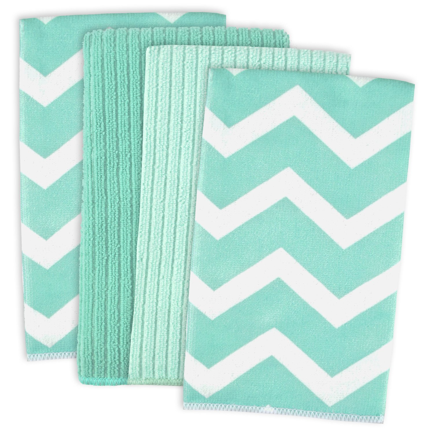 Aqua Microfiber Chevron Dishtowel Set