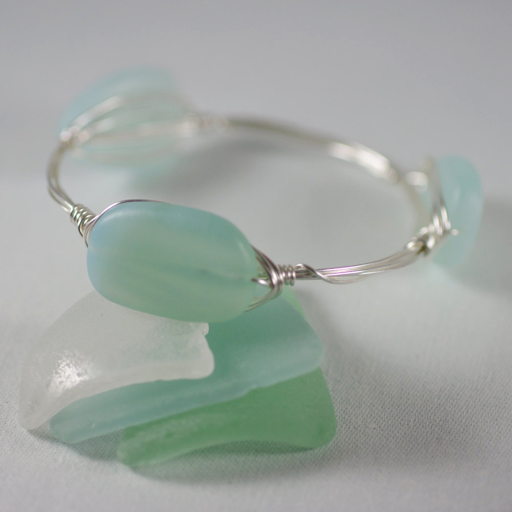 Aqua Sea Glass Wire Wrapped Bangle Bracelet