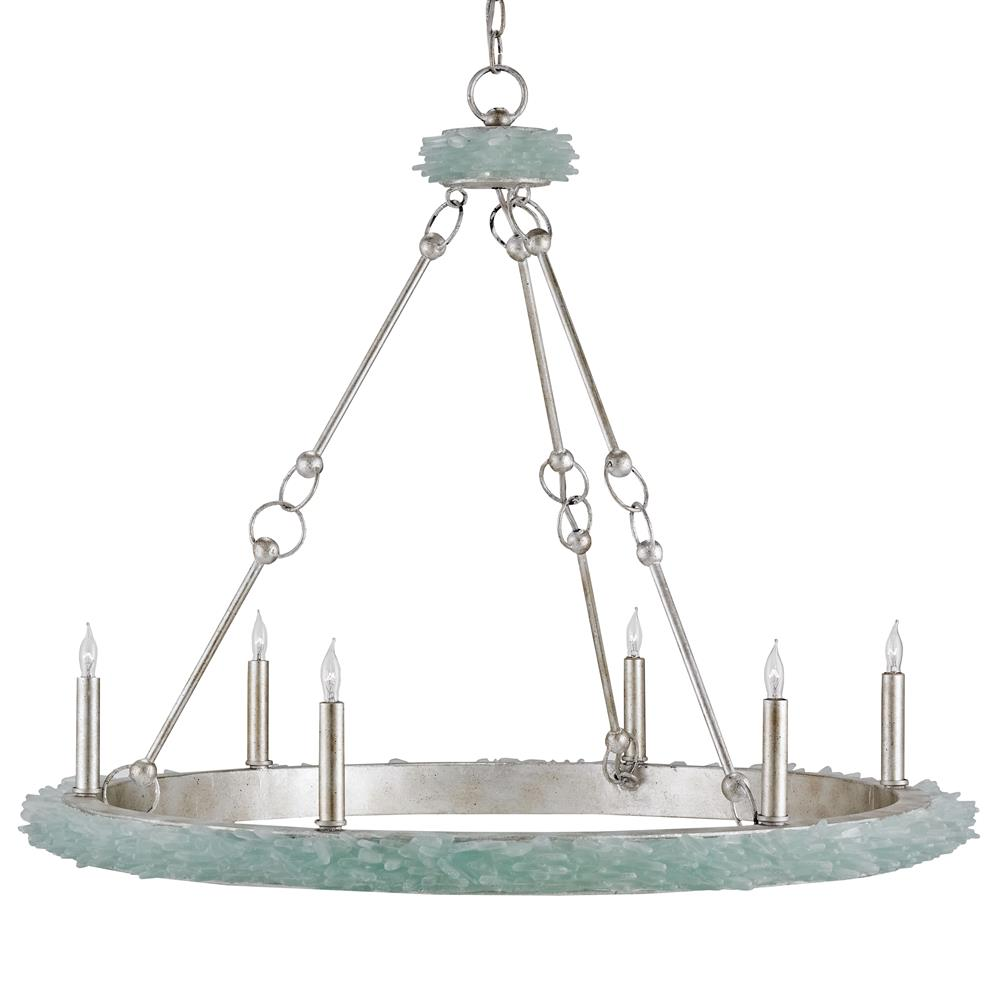 Coastal Beach Aqua Sea Glass Crown 6 Light Chandelier
