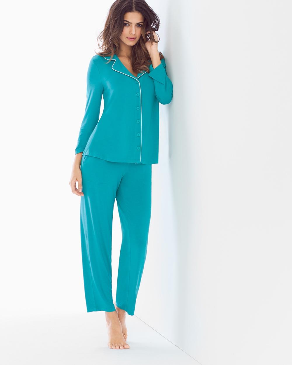 Cool Nights Pagoda Blue Notch Collar Pajamas