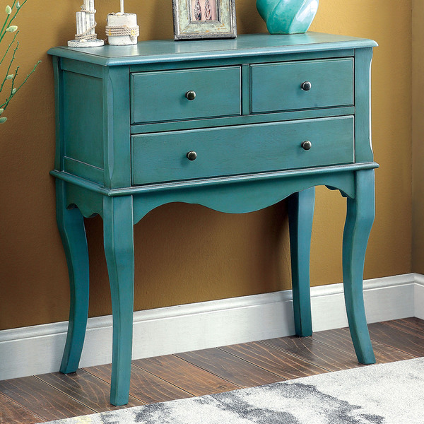 15 Entrance Hall Table Styles To Marvel At: Eloisa Vintage Style Antique Teal Hallway Table
