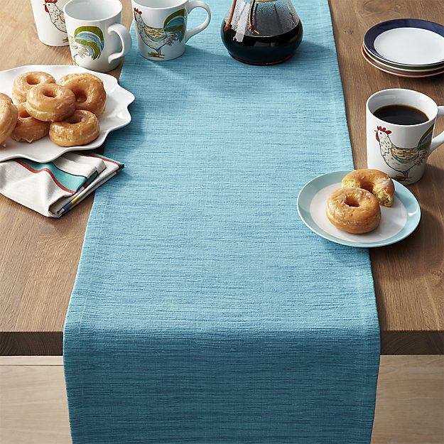 Grasscloth Aqua Blue Table Runner