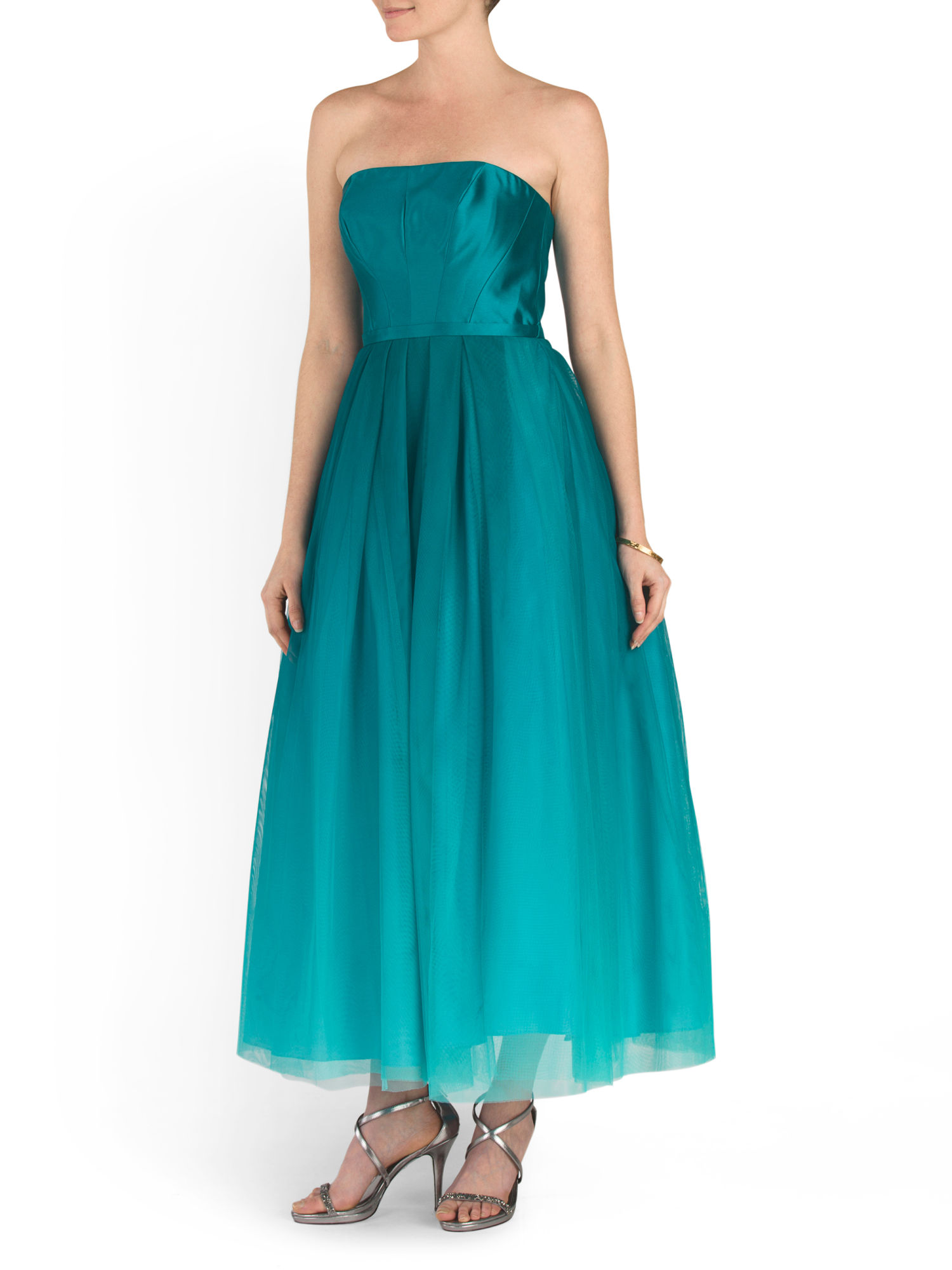 ML Monique Lhuillier Teal Strapless Ballet Length Gown