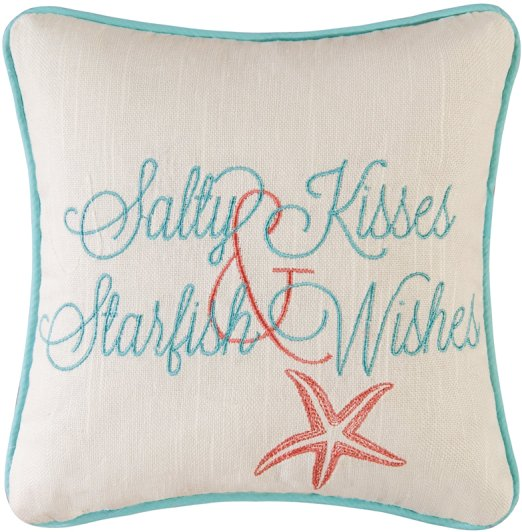 Salty Kisses Starfish Wishes Pillow