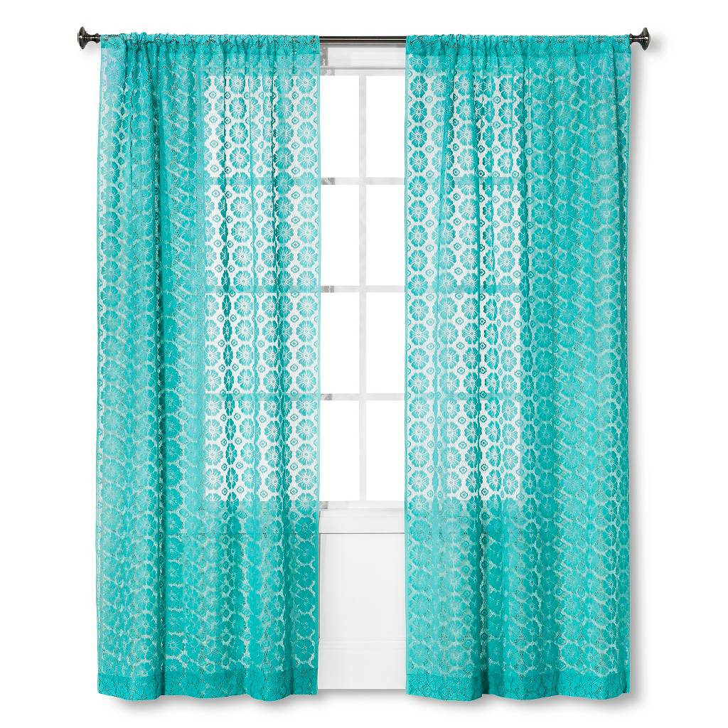 Turquoise Crochet Curtain Panel