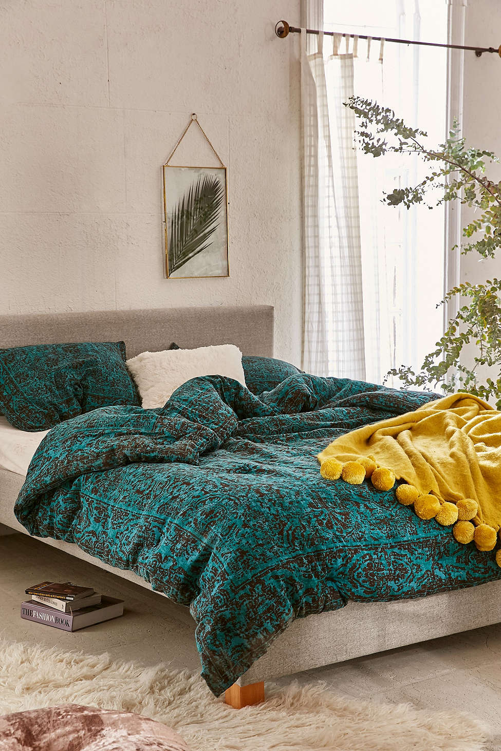 teal worn damask comforter everything turquoise. Black Bedroom Furniture Sets. Home Design Ideas