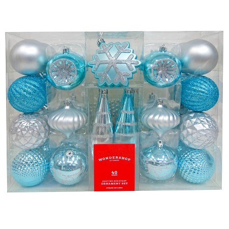40ct Fashion Silver Blue Shatterproof Christmas Ornament Set