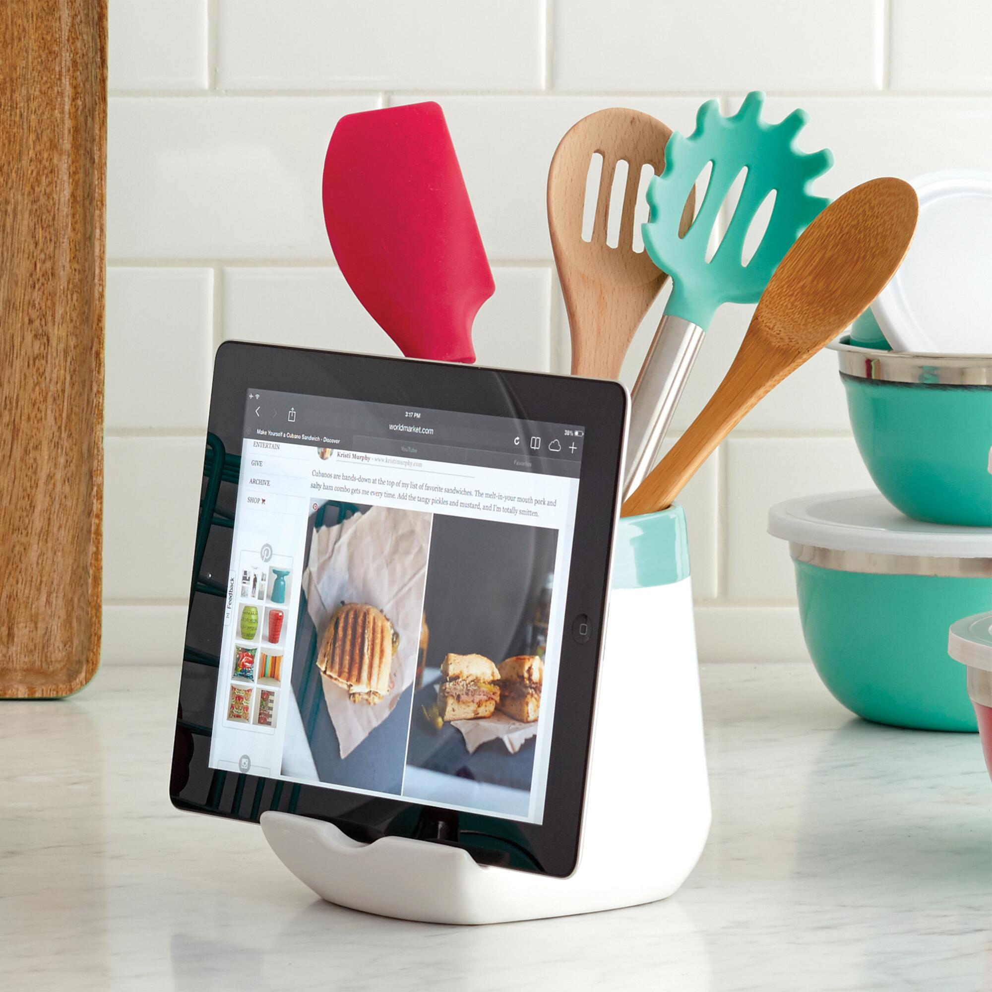 Aqua Ceramic Utensil and Tablet Holder