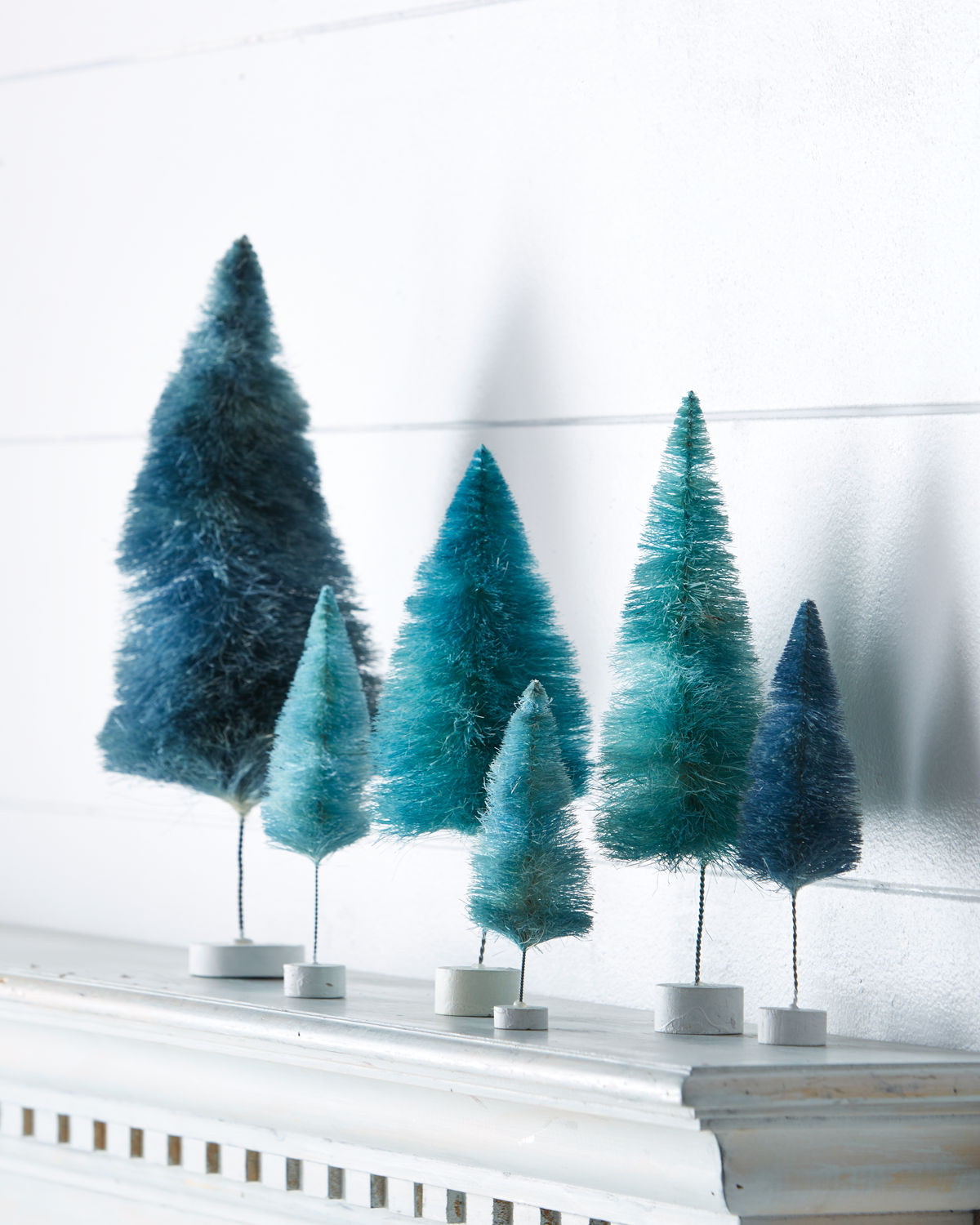 Blue Miniature Trees Set