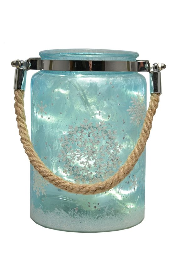 "Ice Blue 5.7"" Snowflake Canister with LED String Lights"
