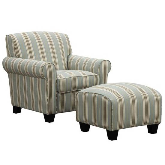 Mira Summer Aqua Blue Stripe Arm Chair and Ottoman