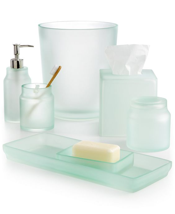 Sea glass frost bath accessories everything turquoise for Bathroom countertop accessories sets