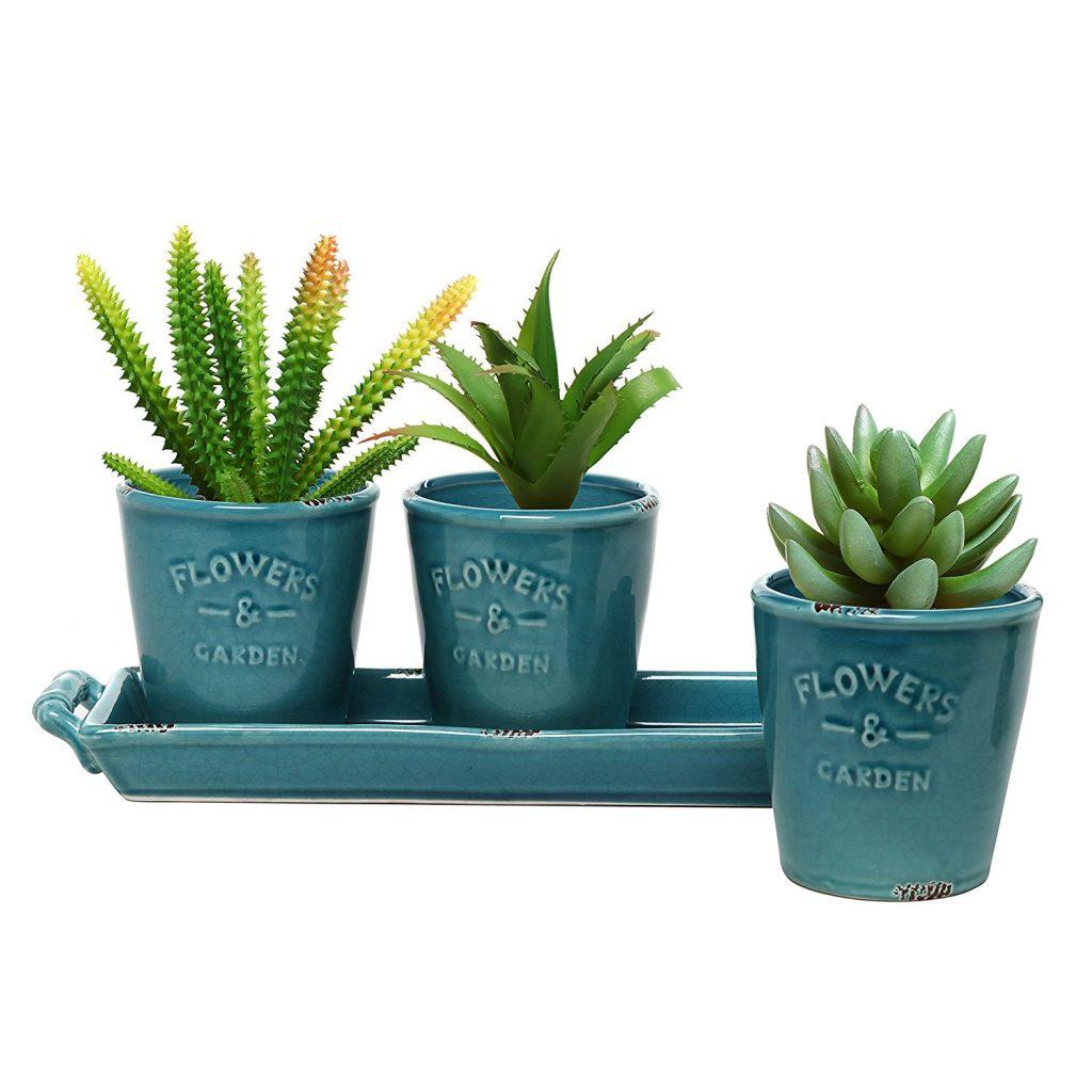 Set of 3 Country Rustic Turquoise Ceramic Succulent Planters