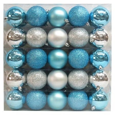 silver blue shatterproof christmas ornament set - Teal And Silver Christmas Decorations