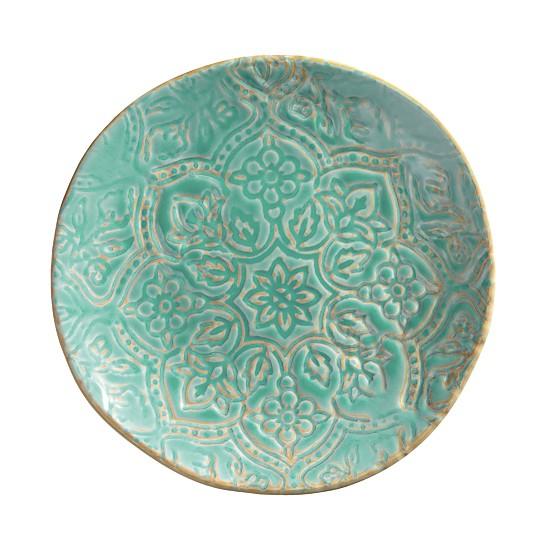 Turquoise Artisan Tile Round Melamine Salad Plate