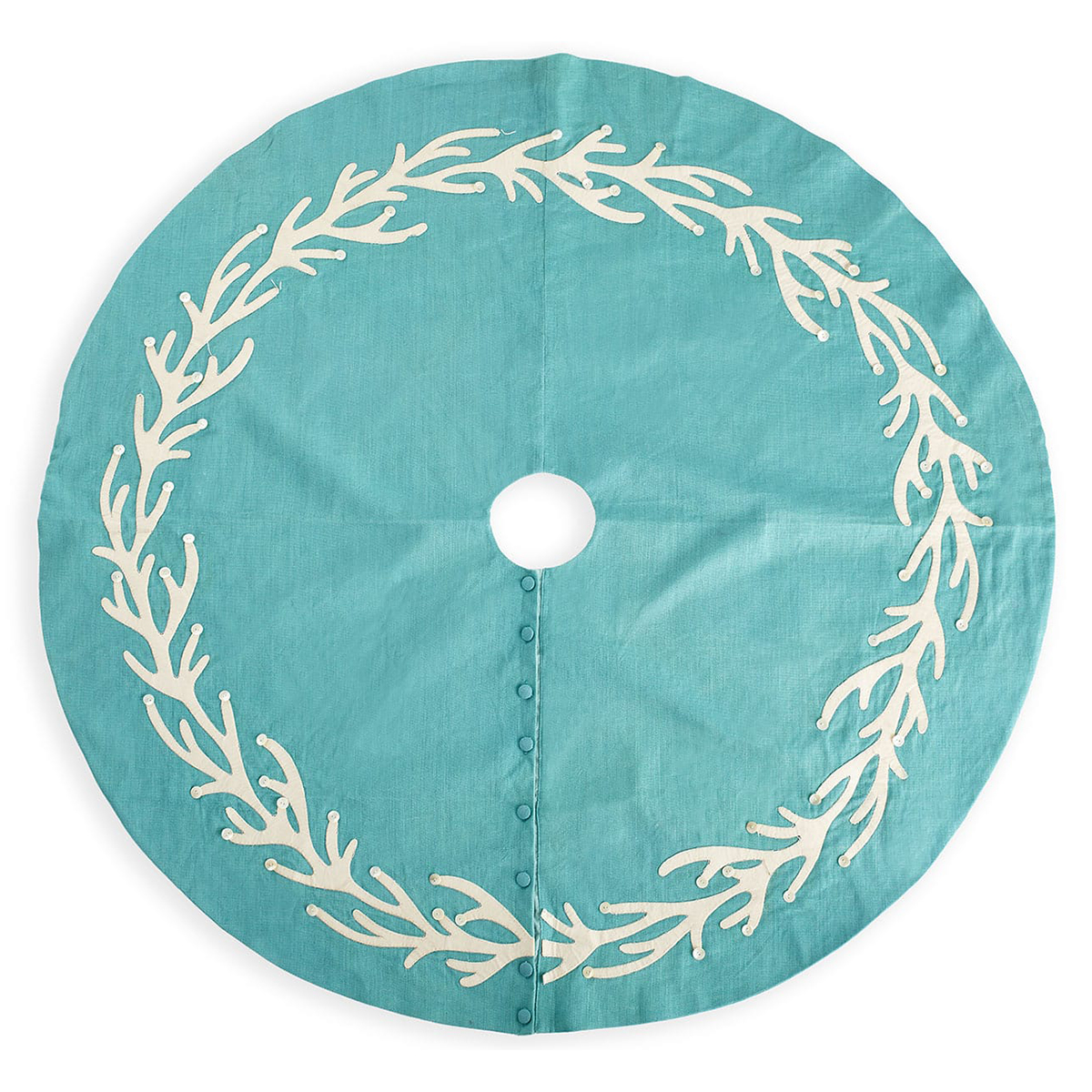 Aqua Christmas Tree Skirt: Turquoise Coral Tree Skirt