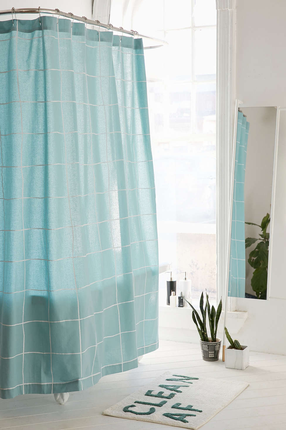 Wonky Grid Shower Curtain in Sky